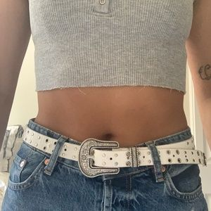 Accessories - White Western Buckled Studded Belt